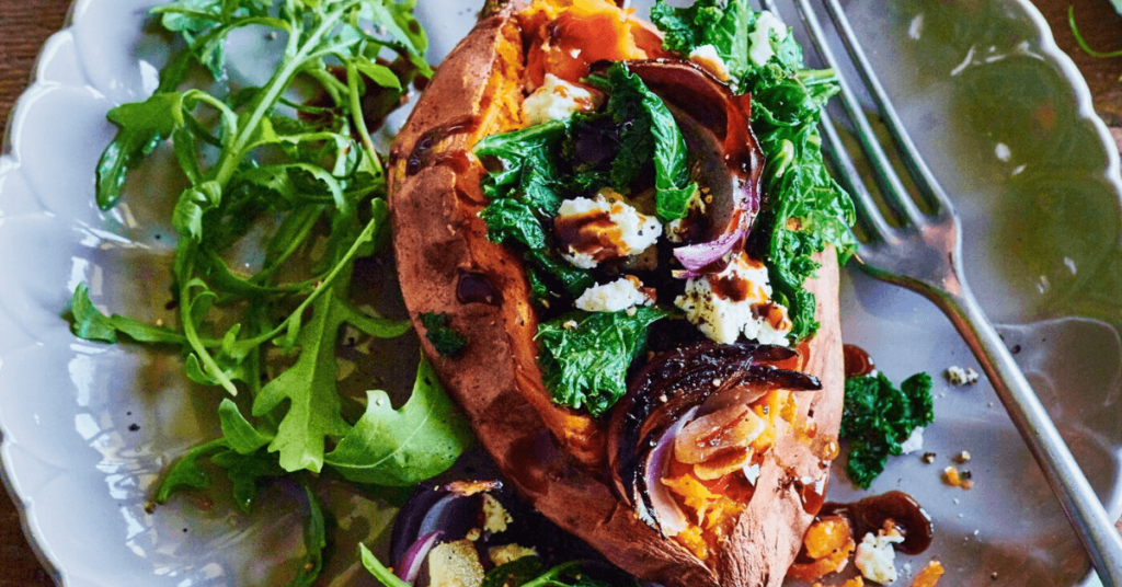 Sweet potato with feta and kale